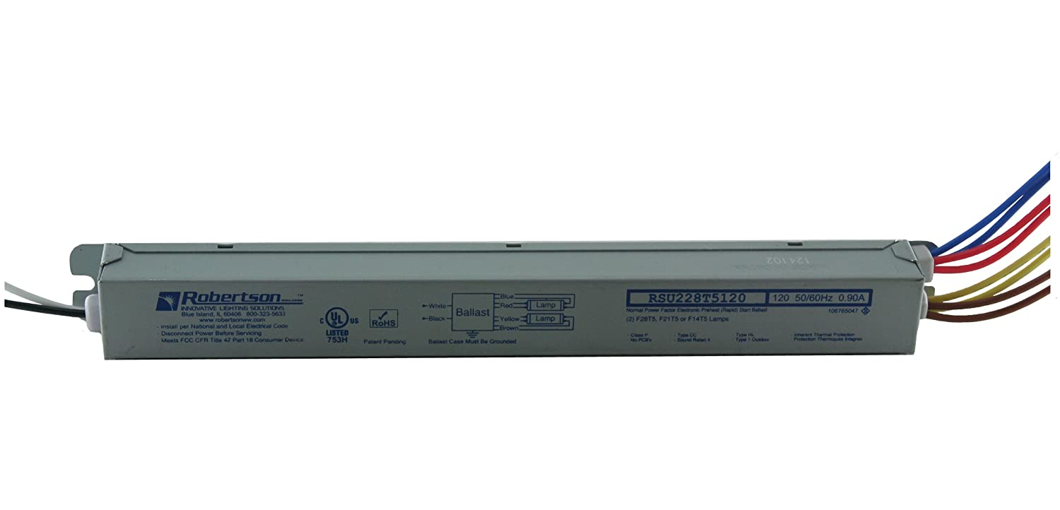 Robertson 3p20043 Rsu228t5120 A Fluorescent Eballast For 2 F32t8 T5 Ballasts L S In Addition 4 Ballast Wiring On Linear Lamps Preheat Rapid Start 120vac 50 60hz Normal Factor