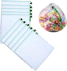 10 Pack Toy Storage Organization Mesh Bags with Drawstring,Washable and Reusable, Food Safety Mesh Bag for Small Lego/Toys classification, Travel Storage 12×14in (medium)