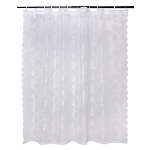 white lace shower curtains for the bathroom. Black Bedroom Furniture Sets. Home Design Ideas