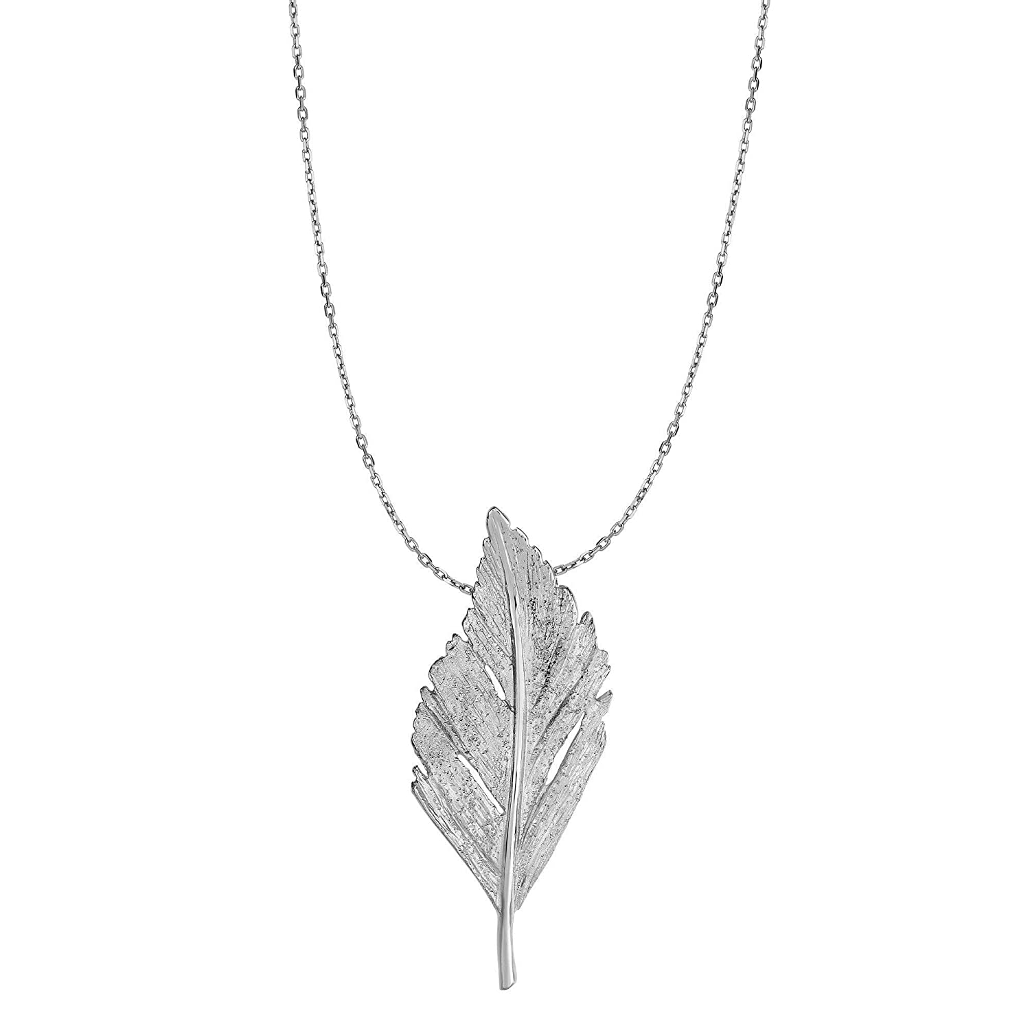 18 Inches Sterling Silver Rhodium Plated Stardust Fancy Leaf Slide Pendant Necklace
