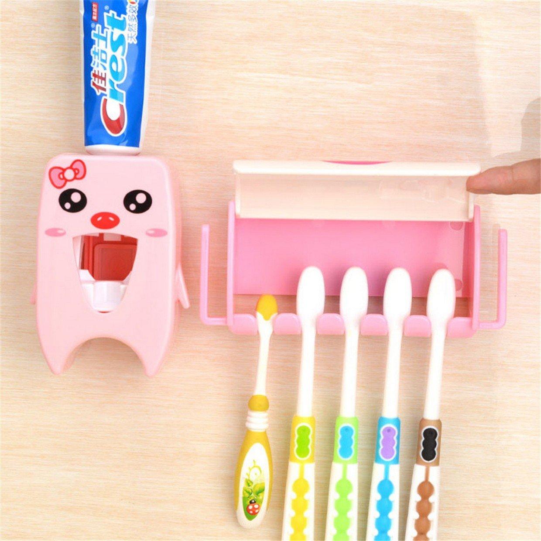 Cepillo de dientes titular dispensador pasta dientes ni/ños ba/ño set 2 piezas a fantas/ía cat rosa