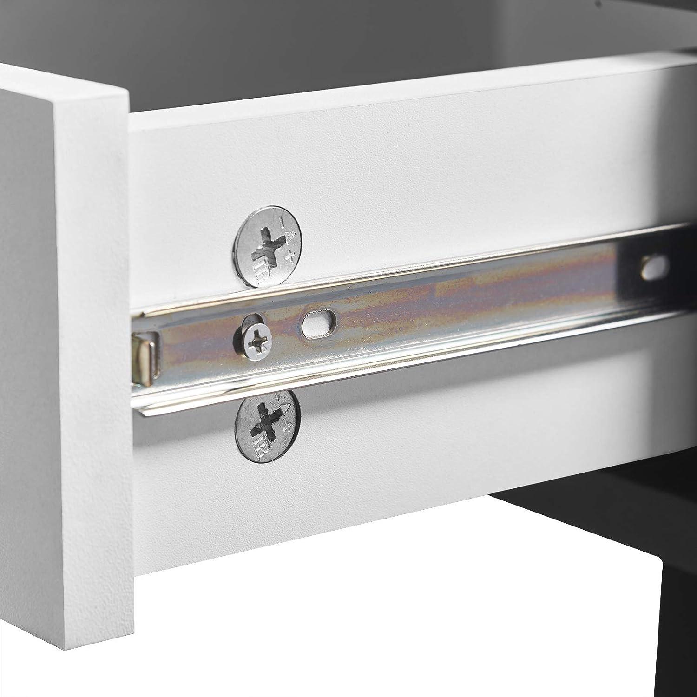 WOLTU/® TS39ws Scrivania con Cassetto Libreria Tavolo da Studio PC Computer Ufficio Lavoro Scaffale in Legno Moderno Gambe in Metallo 110x50x75cm