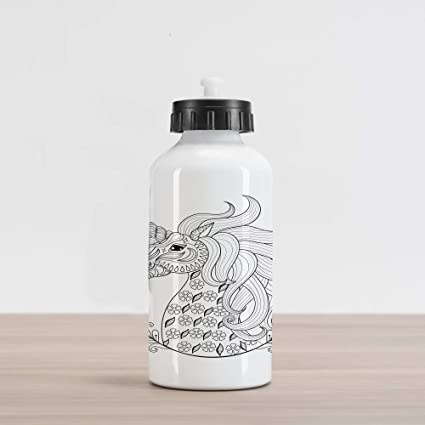 4c789222f3 Ambesonne Black and White Aluminum Water Bottle, Fantasy Animal Unicorn  Profile with Floral Ornaments Monochrome