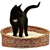 1-99 GalaDis Kleiner Katzenkorb aus Weide / Katzenbett / Katzenkörbchen + 1 Kissen