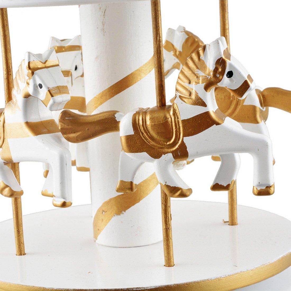Souarts Color dorado giratorio Carrusel Caballo Musical caja con castillo en el cielo para cumplea/ños fiesta de Navidad 1/pc
