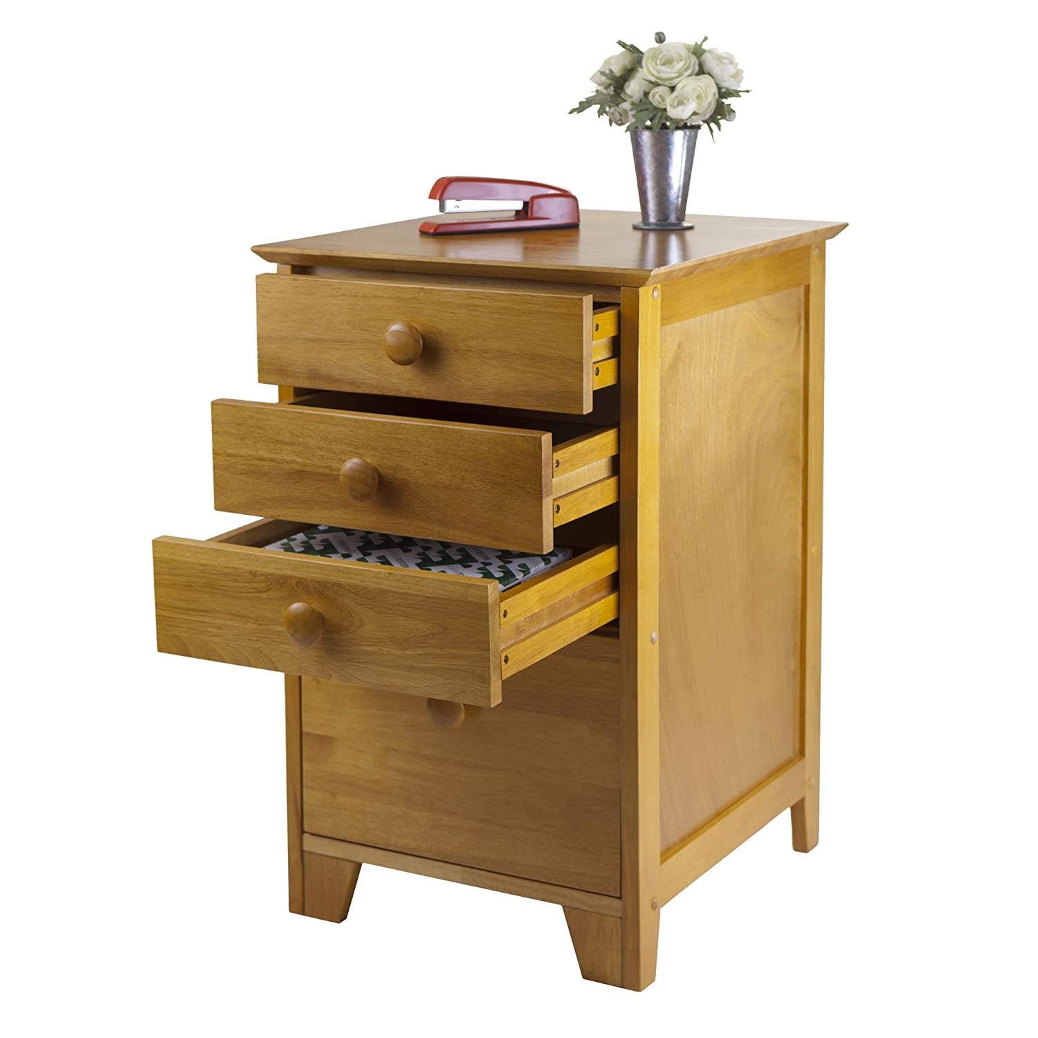 amazoncom winsome solid wood 4 drawer lateral wood file cabinet in honey pine office products
