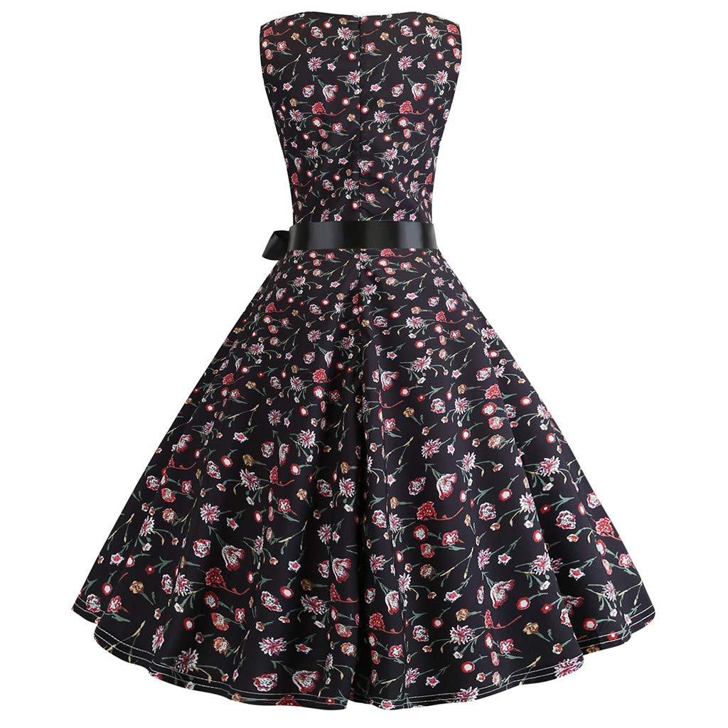 Xavigio_Women Dresses Women's Retro Boatneck Sleeveless Vintage Tea Dress with Belt A-Line Dresses by Xavigio_Women Dresses (Image #3)