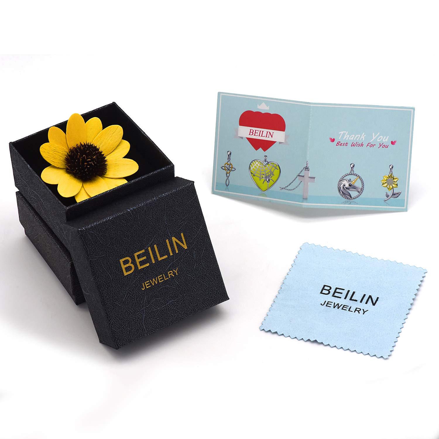 BEILIN 925 Sterling Silver Sunflower Necklace You are My Sunshine Love Heart Sunflower Pendant Necklaces for Women Girls JP23313-S