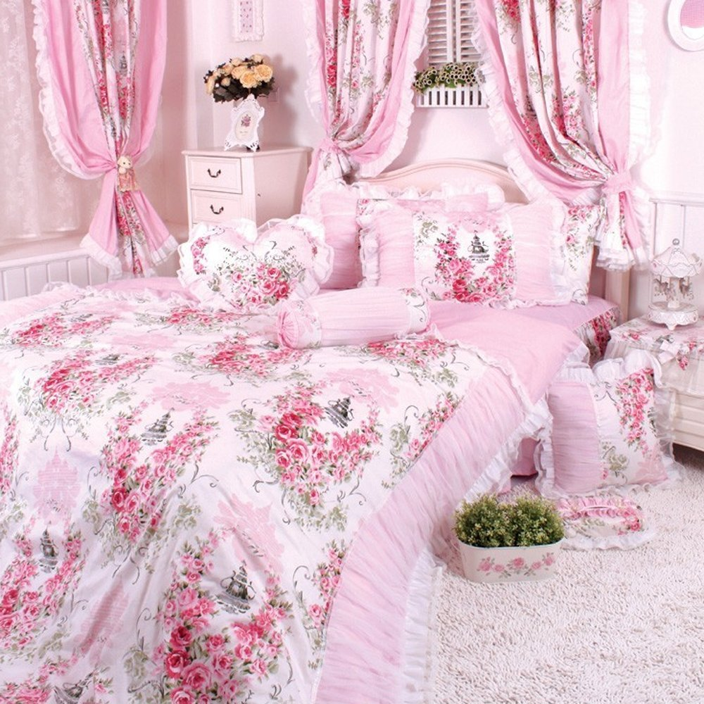 Wolala Home Pink Rose Flowers 4Pcs Bed Sheet Set 100% Cotton White Lace Ruffle Duvet Cover Bedding Set