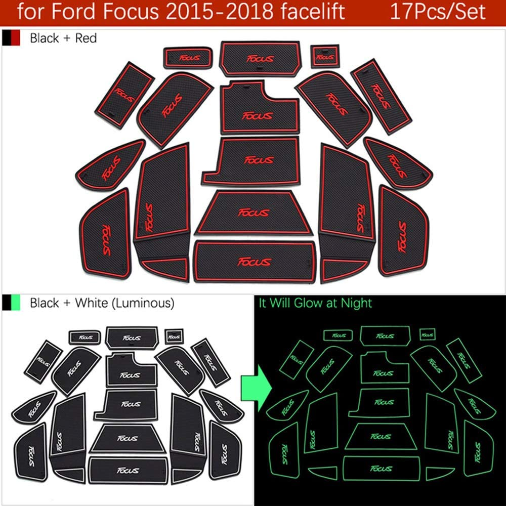 QSONGL Tappetino Antiscivolo per Ford Focus 3 3.5 MK3 2015-2018 restyling ST RS Slot Gate Coaster Anti-Dirty Mat Groove Mat