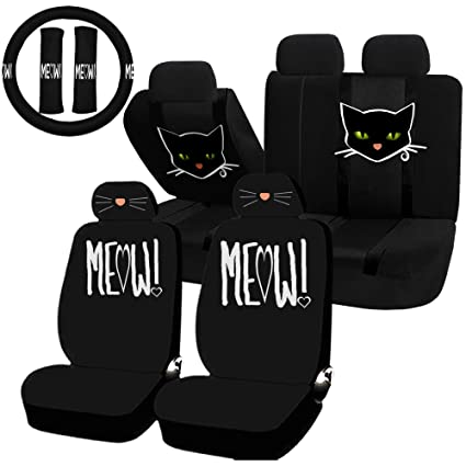 UAA 22pc Cat Lover Cute Friendly Pet Girly Universal Seat Cover Steering Combo Set