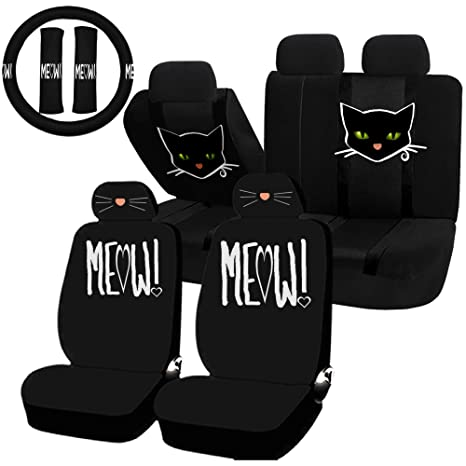 Astounding Uaa 22Pc Cat Lover Cute Friendly Pet Girly Universal Seat Cover Steering Combo Set Machost Co Dining Chair Design Ideas Machostcouk