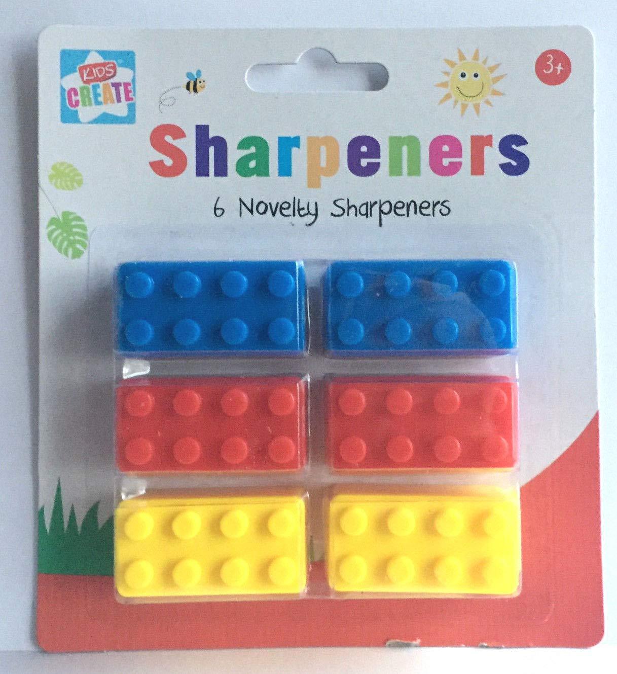 Colori Assortiti 29,7 x 21 x 2 cm in plastica Temperamatite a Forma di mattoncini Confezione da 6 Anker