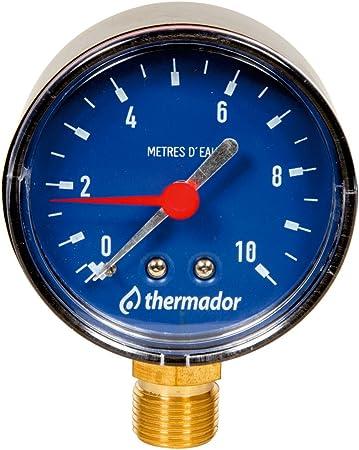 "Ø63mm-Pression 0 à 10 mce THERMADOR Hydromètre RADIAL Mâle 3//8/"""
