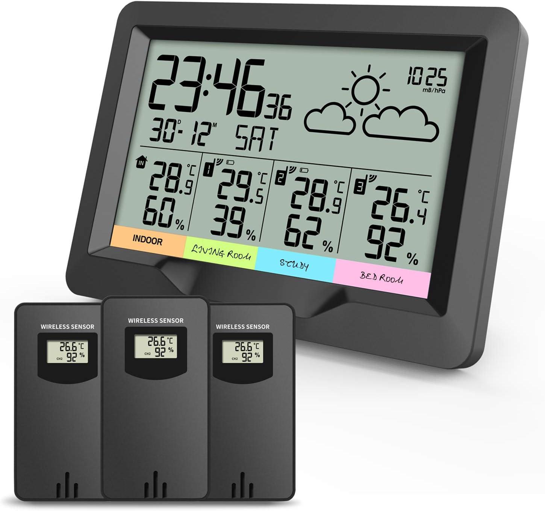 Kabellos Temperatur Thermo Meter Digital Uhr LCD ABS Top Luftfeuchtigkeit Außen