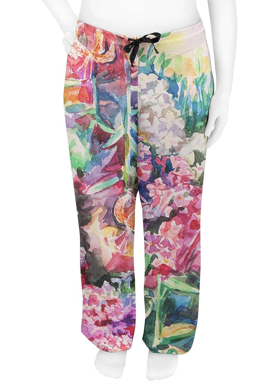 Watercolor Floral Womens Pajama Pants M Pink