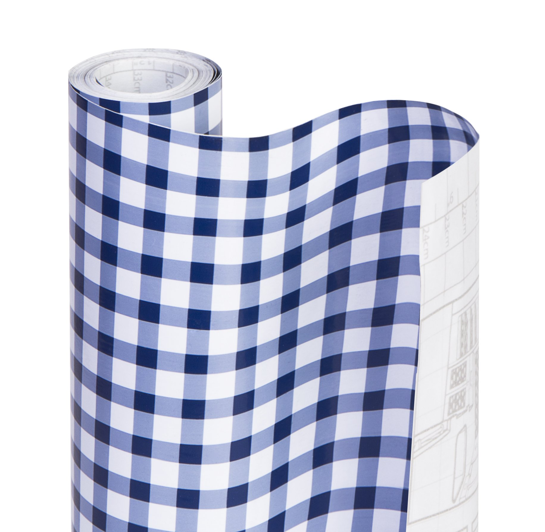 DAZZ 8607201 Navy Blue Gingham Adhesive Decorative Shelf Liner