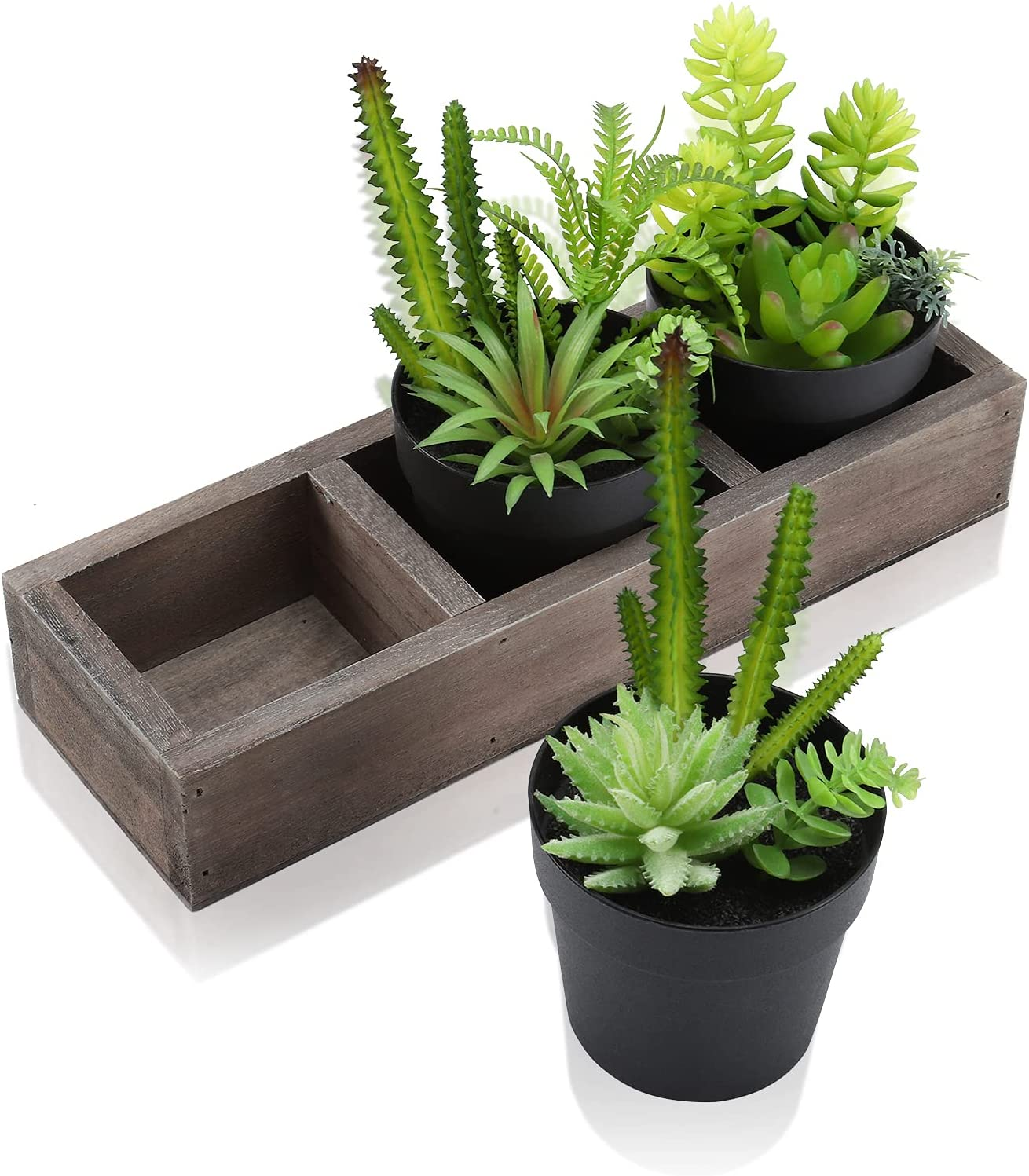 Remittur Set of 3 Small Fake Plants with Wooden Planter Box, Artificial Plants for Home Decor Indoor, Mini Faux Plants Indoor for Living Room Decor, Fake Plants Decor for Your Home and Office