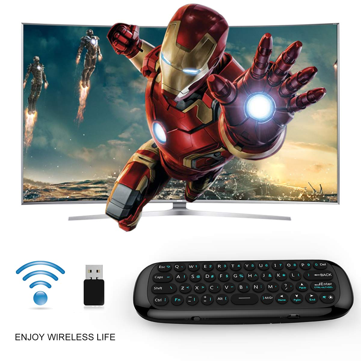 YAGALA Mini Air Mouse,W1 Wireless Keyboard 2.4G Fly Mouse Multifunctional Remote Control with IR Learning Function,Works for Android TV Box//PC//Smart TV//Projector//HTPC//All-in-one PC//TV