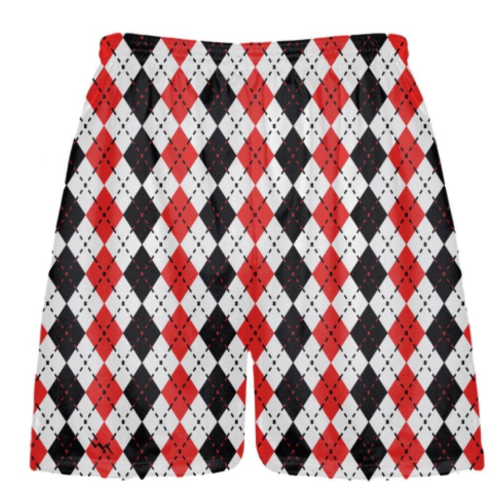 Youth Boys Argyle Lacrosse Shorts Sublimated Lacrosse Shorts Red Black Argyle Red Mens Lax Shorts