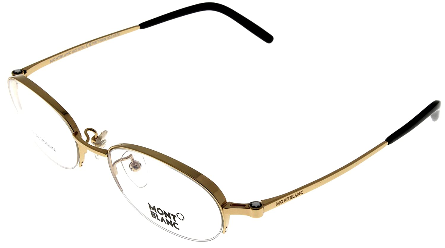 5cf9eb71500 Amazon.com  Mont Blanc Prescription Eyeglasses Frame Unisex Gold Plated  Titanium MB95 F90 Semi- Rimless  Clothing