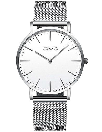 CIVO Unisex para Hombre del Reloj para Mujer de Lujo Ultra Thin Minimalista Relojes de Pulsera