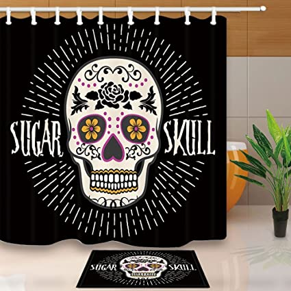 HiSoho Day Of The Dead Shower CurtainSugar Skull Flower Decor National Customs71X71in