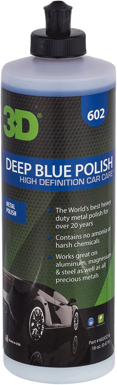3D Metal Polish (Deep Blue) - 16 oz. | Wheel, Mags, Rim Cleaner, Metal Cleaner, Heavy-Duty Cleaning of Tarnished Metal, Diamond Plate, Polishes Brass, Silver, Chrome, Gold, and Copper
