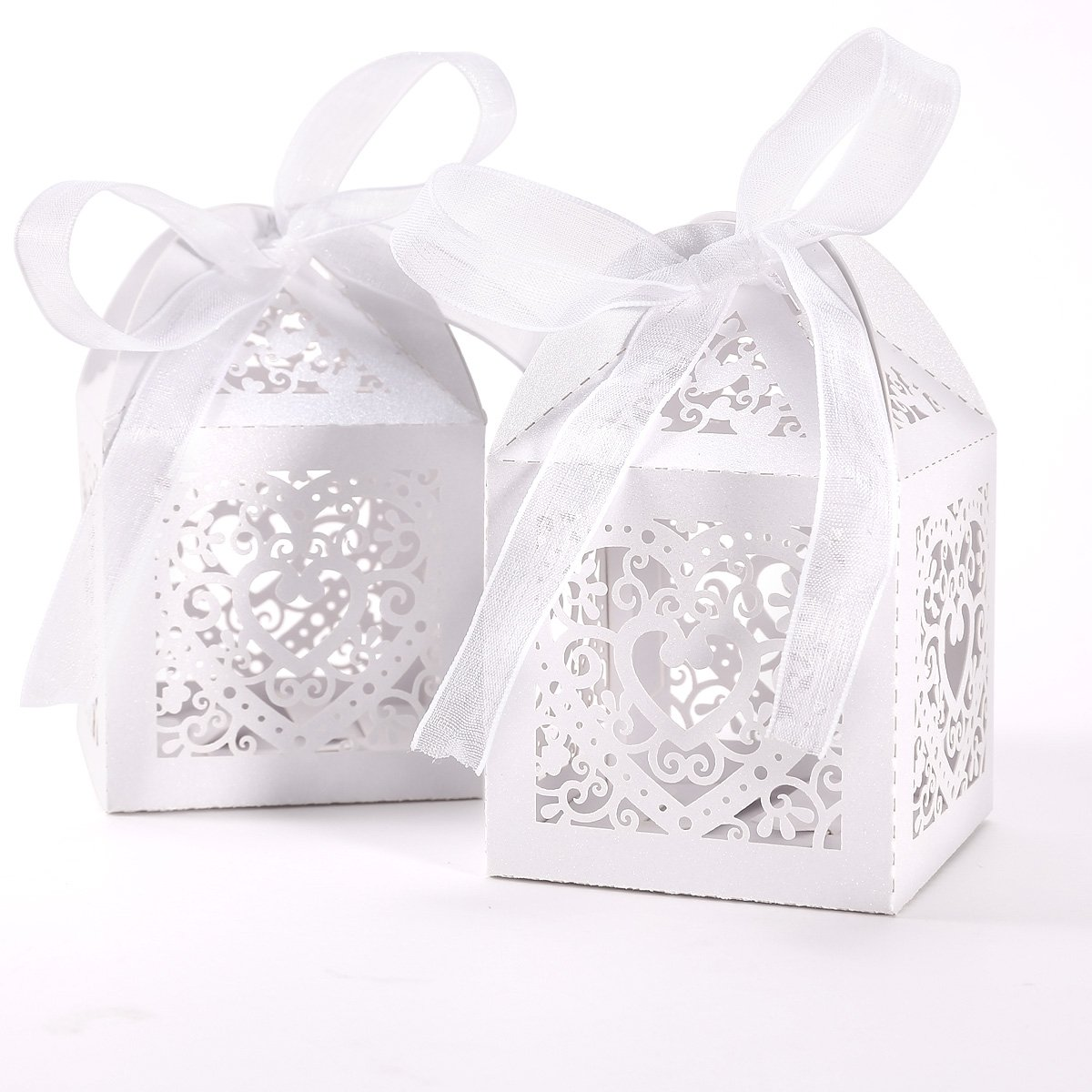 50pcs Laser Cut Wedding Hollow Love Heart Wedding Favor Candy Gifts Boxes Ivory White SpecialShare NTWNMJHGDU797