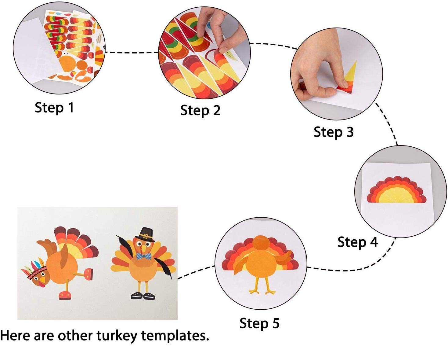 partyGO Thanksgiving Party Games for Kids 24 PCS Make-A-Turkey thanksgiving crafts for kids thanksgiving activities for kids