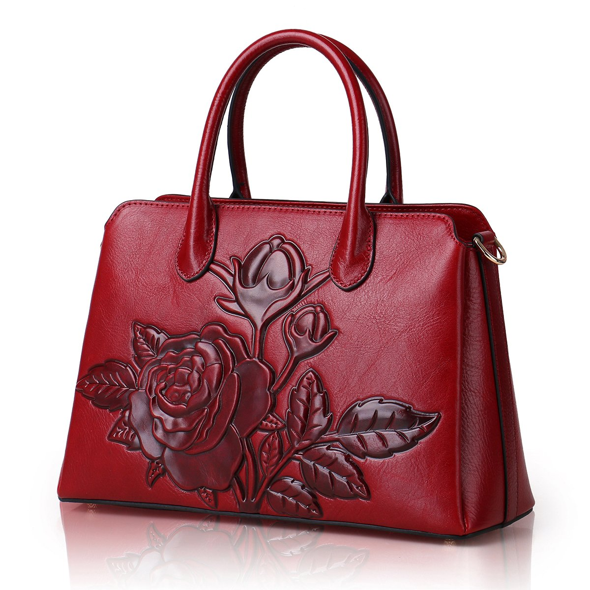 APHISON Designer Unique Embossed Floral Cowhide Leather Tote Style Ladies Top Handle Bags Handbags (Red)
