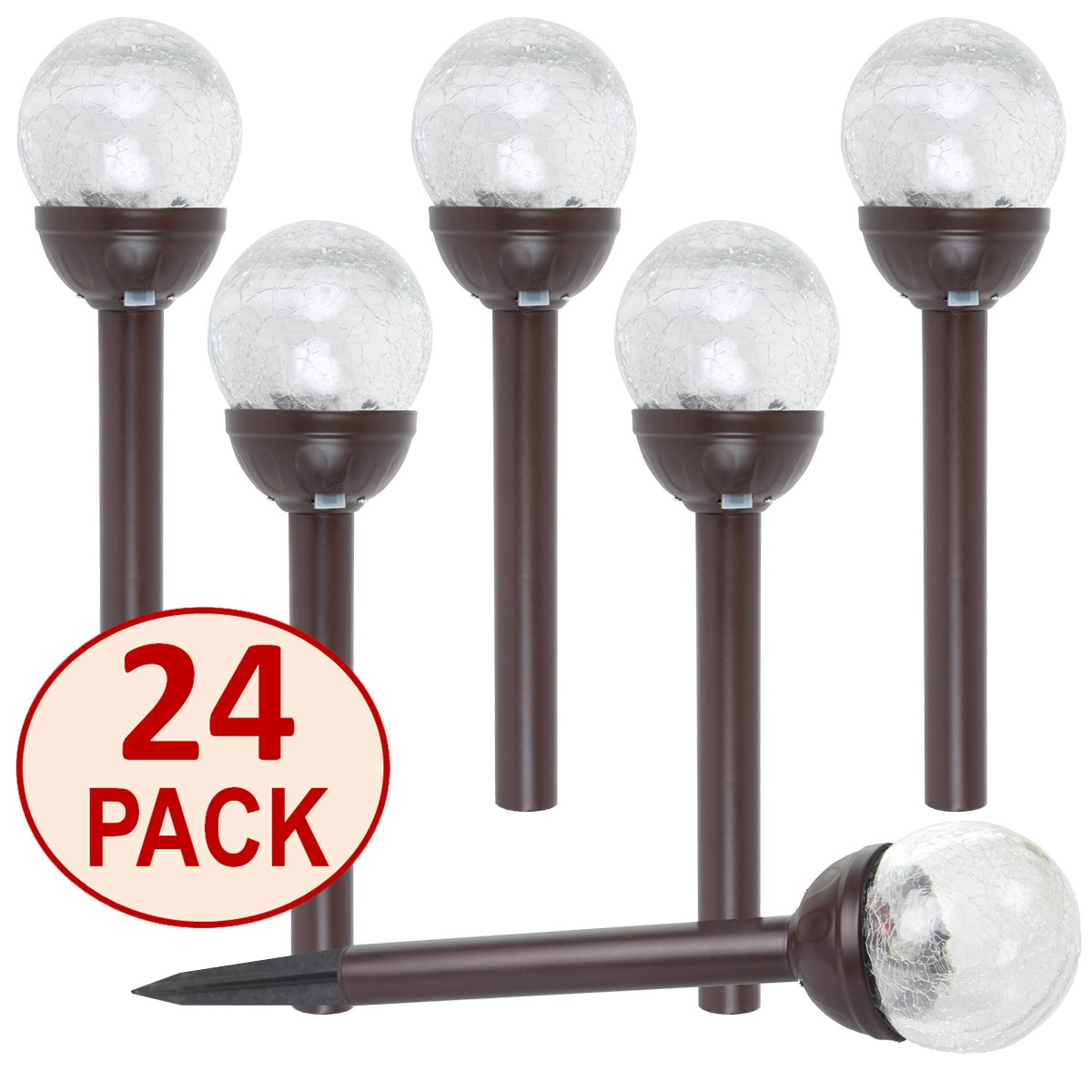 SET OF 24 Crackle Glass Globe Color-Changing LED & White LED Bronze Stainless Steel Solar Path Lights by SOLAscape