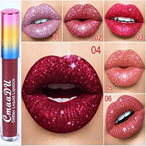 Ownest 6 Color Shimmer Lip Gloss Set Moisturizing Liquid Lipstick Long Lasting Waterproof Diamond Lip Set