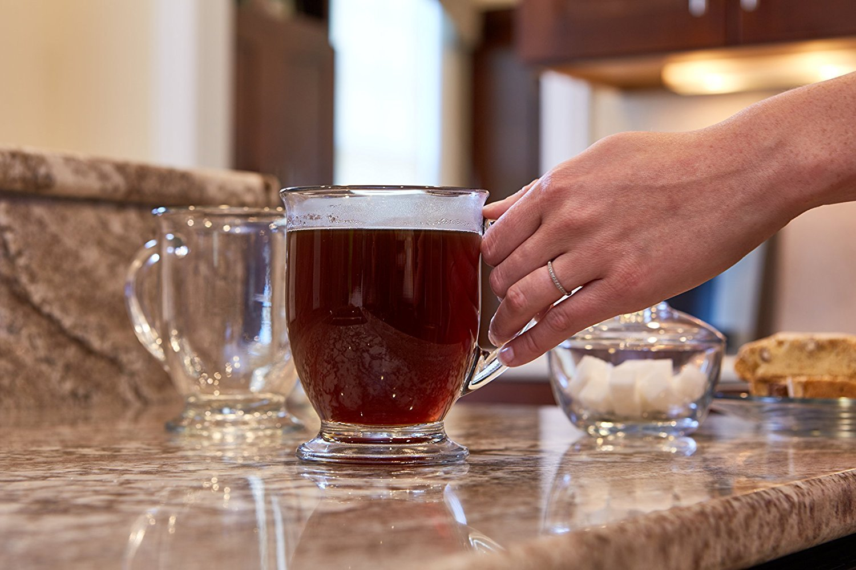 Anchor Hocking Caf/é Glass Coffee Mugs 16 oz Set of 4