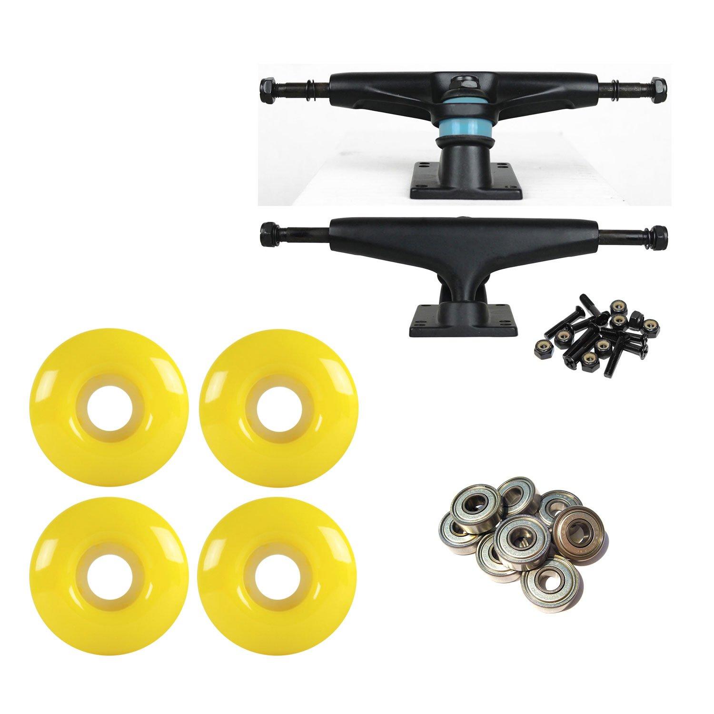 litezpeed Skateboard Trucksブラック/ブラック51 mmイエローABEC 9 BEARINGSコンボ   B07BX5D145