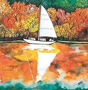 Boston International C029100 IHR 20-Count 3-Ply Cocktail Beverage Paper Napkins, 5 x 5-Inches, Autumn On The Lake