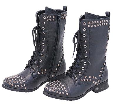 b5d87ffb2a2 Jamin' Leather Women's Studded Combat Boots w/Zipper #BLC523LSK