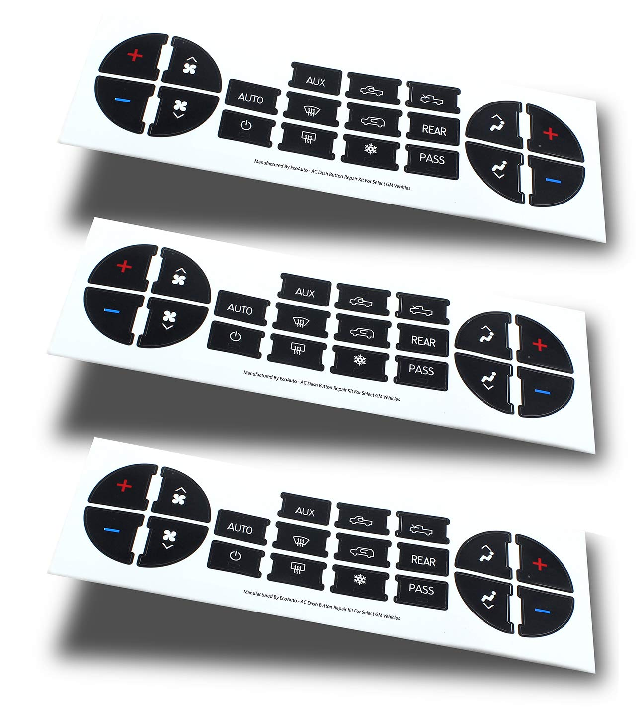 AC Dash Button Replacement Decal Stickers (Pack of 3) for Select GM Vehicles - AC Control & Radio Button Sticker Repair Kit - Fix Ruined Faded A/C Controls