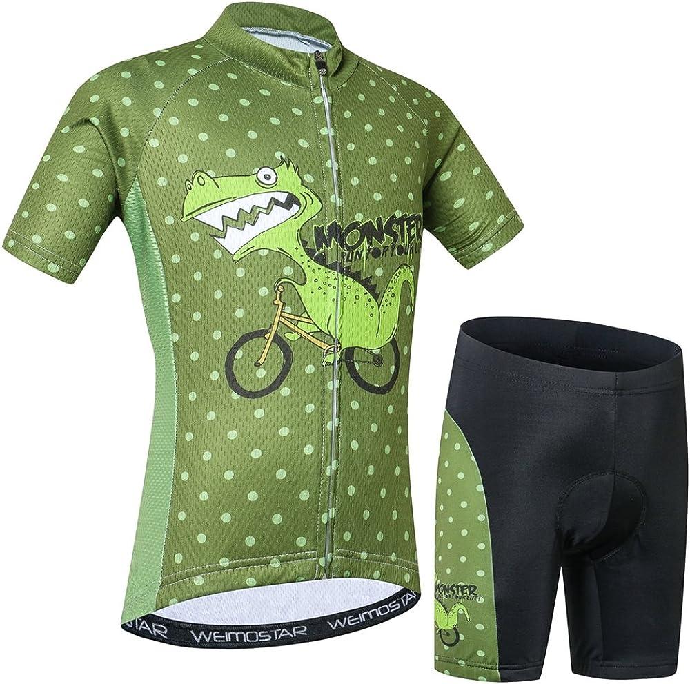 Cycling Jersey Kids,Short Sleeve Cartoon Road Mountain Bike Jersey Set//Top//Short for Girls Boys Breathable