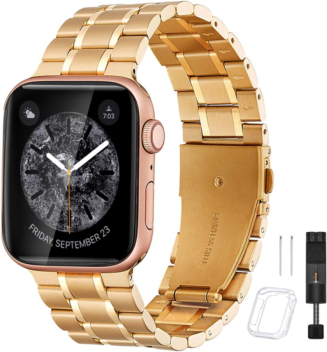 Bestig Compatible for Apple Watch Band 38mm 40mm Premium Solid Stainless Steel Metal Replacement Adjustable Sport Wristband Bracelet Strap for iWatch Series 6 SE 5 4 3 2 1 (Matte Gold/Polished Gold)