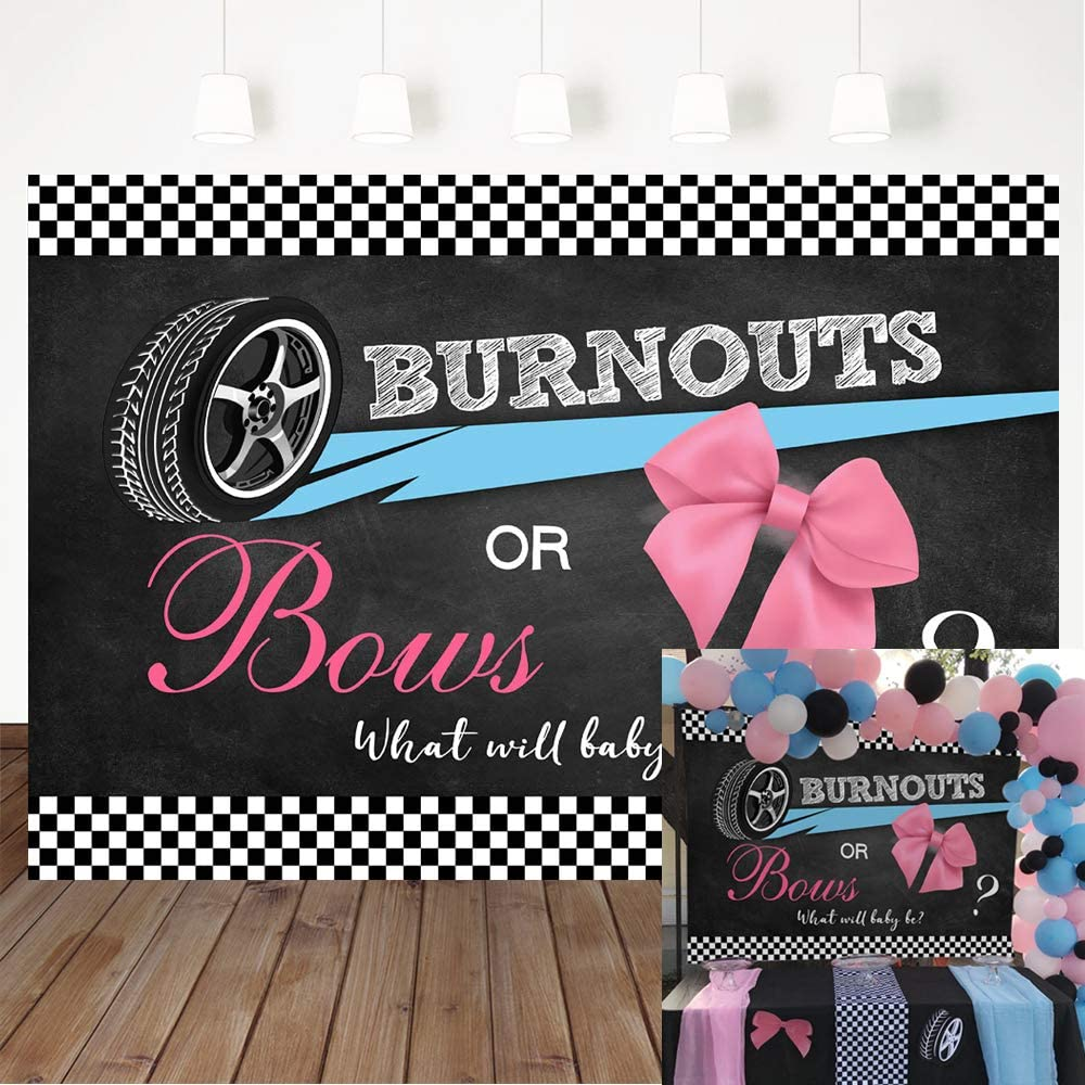 Avezano Burnouts or Bows Gender Reveal Backdrop, Boy or Girl Gender Reveal Party Decorations 5x3ft Vinyl He or She Blue or Pink Party Banner Photography Background