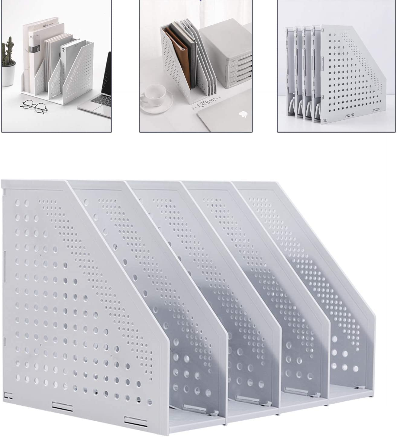 Deli Collapsible Magazine File Holder/Desk Organizer for Office Organization and Storage with 4 Vertical Compartments