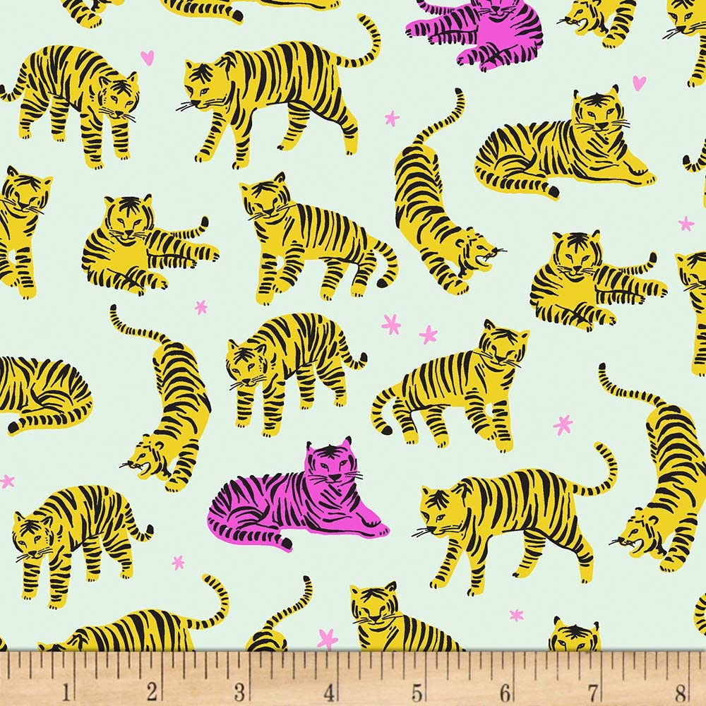 EXCLUSIVE Kaufman Hello Lucky! Lawns Tigers Sunshine Fabric by the Yard