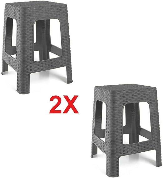 2X Taburete Silla de plástico Estilo Rattan Gris Asiento Cuadrado cómodo jardín Banco: Amazon.es: Jardín