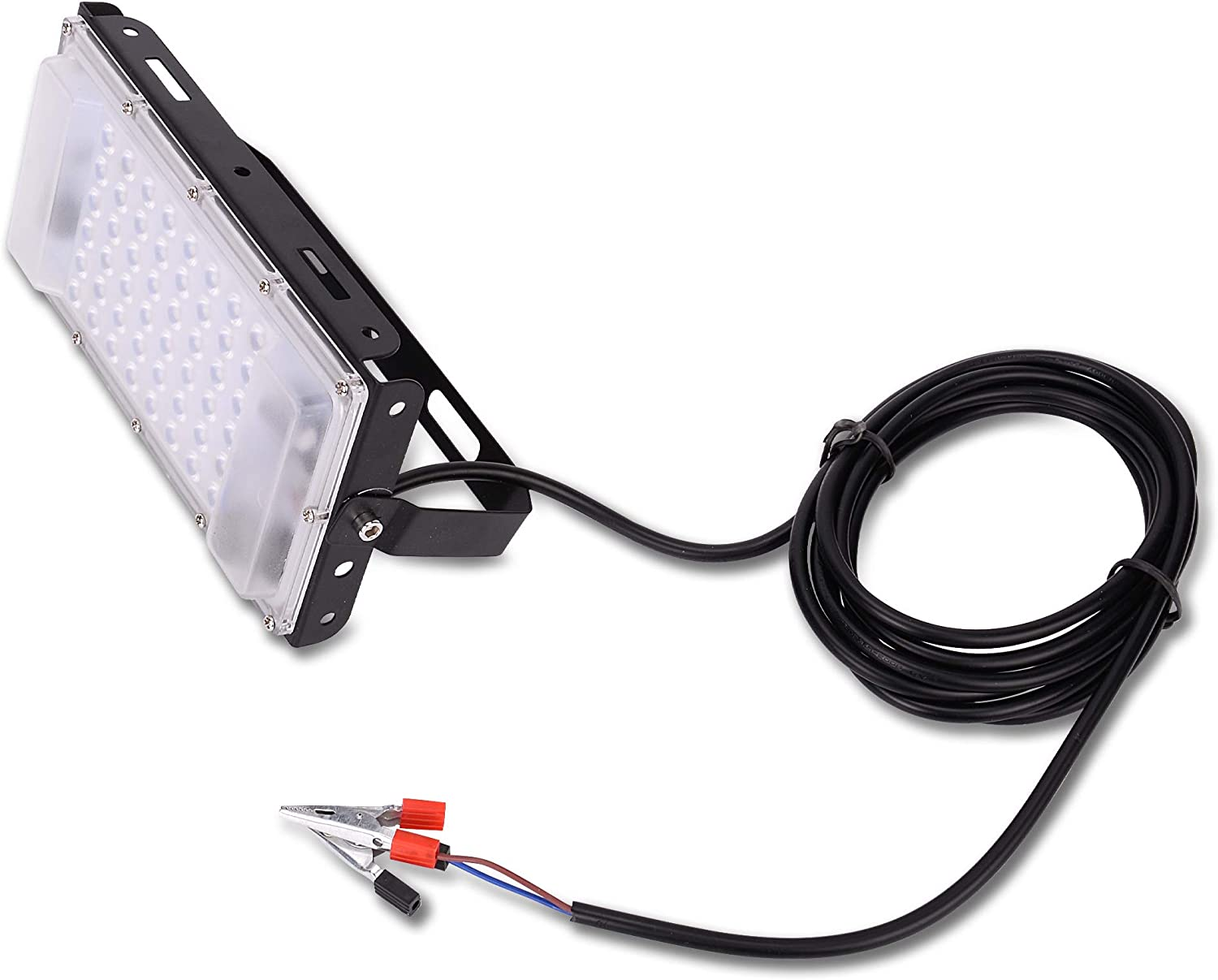Portable Waterproof DC 12 Volt LED Flood Light 50 Watt Multi Purpose Outdoors Indoors 7.8x4.1x2.2 50W Projector Lamp Ready to Mount 10 Feet Wiring 12V Deep Cycle Red Black Clamps Aluminum Bright