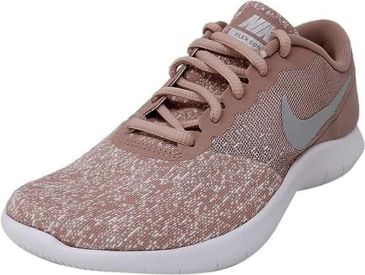 NIKE Women's Flex Contact Running Shoe, White/Metallic Silver-Particle Pink, 9.5