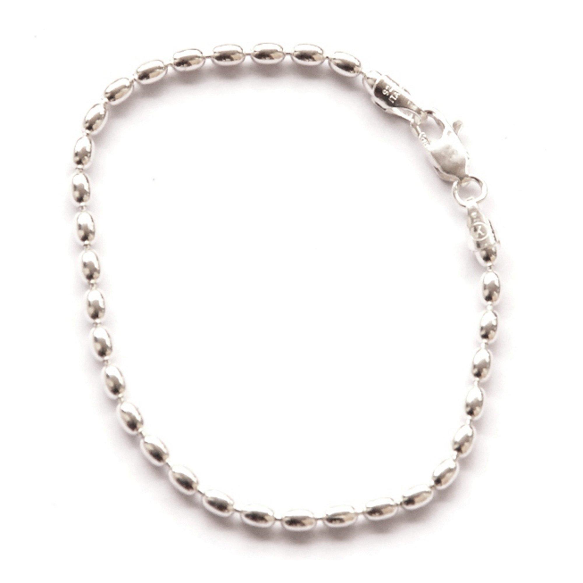 Small St. Silver 6.5-inch Charleston Rice Beads Link Bracelet For Girls & Petit Women Sturdy 2.5 x 3 MMS