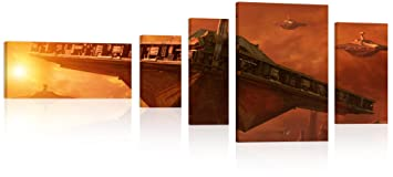 STAR WARS Star Destroyer Wand Bild 200x80cm XXL Leinwand Druck