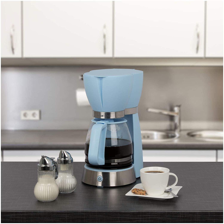 Glaskanne Tropfstopp 1000 W Abschaltautomatik Clatronic KA 3689 RocknRetro Filterkaffeemaschine f/ür 15 Tassen Blau