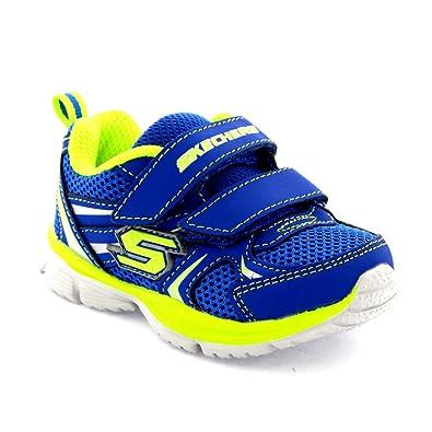 6b9d0c5f766e Skechers Infant Boys Speedees Burn Outs Blue Memory Foam Velcro Trainers -  Blue Lime -